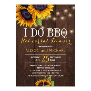 String lights sunflowers i do bbq rehearsal dinner invitation