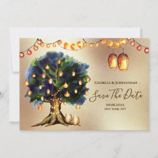 String lights tree rustic country gold lantern save the date
