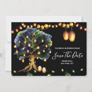 String lights tree rustic country oriental lantern save the date