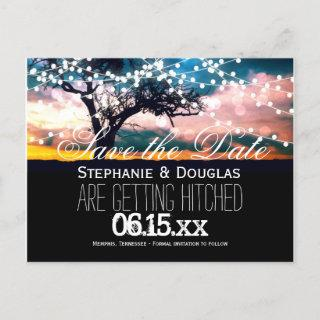 String Lights Tree Sunset Save the Date Postcards