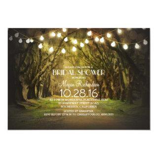 String Lights Trees Path Rustic Bridal Shower Invitation