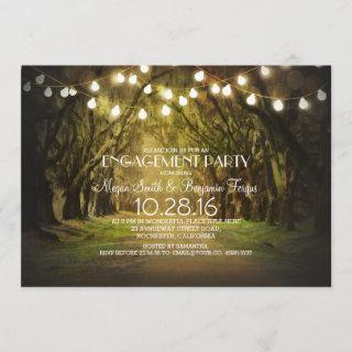 String Lights Trees Path Rustic Engagement Party Invitations