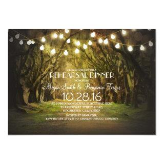 String Lights Trees Path Rustic Rehearsal Dinner Invitations
