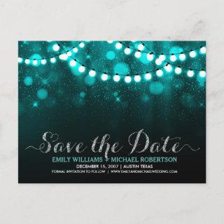 String lights turquoise bokeh save the date announcement postcard