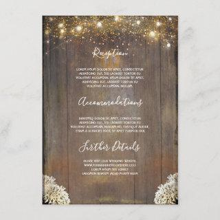String Lights Wood Rustic Wedding Details Enclosure Card