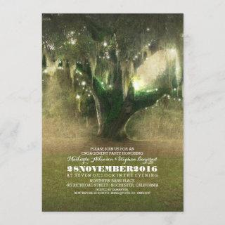 String of Lights Rustic Oak Tree Engagement Party Invitation