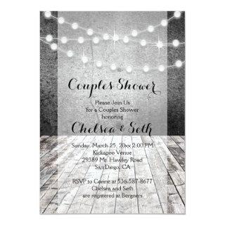 String of Lights Rustic Wood Background Invitation