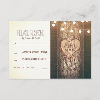 Strings of Lights Carved Heart Wedding RSVP Cards