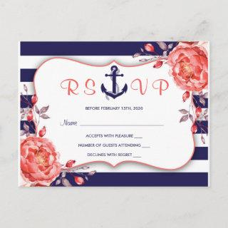 Striped Nautical Navy And Coral Wedding RSVP Invitation Postcard
