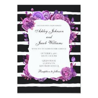 Striped wedding invitation modern. Purple flowers