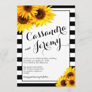 Stripes and Yellow Sunflowers Wedding Invitations