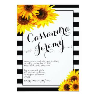 Stripes and Yellow Sunflowers Wedding Invitation