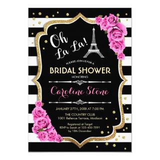 Stripes Pink Roses French Style Bridal Shower Invitations