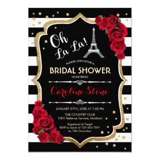 Stripes Red Roses French Style Bridal Shower Invitations