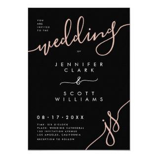 Stylish black rose gold handwritten script wedding invitation