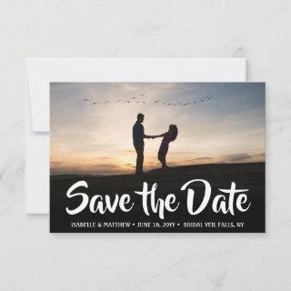 Stylish Calligraphy 2 Photo Simple Script Wedding Save The Date