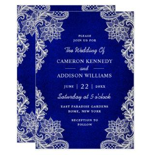 Stylish Floral Lace Royal Blue Wedding Invitation
