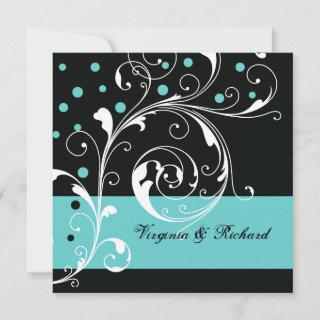 Stylish floral scrollwork black, aqua wedding Invitations
