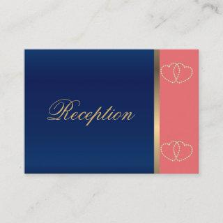 Stylish Gold Hearts on Coral and Navy Blue Enclosure Card