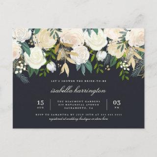 Stylish Gold Watercolor Floral Bridal Shower Invitations Postcard