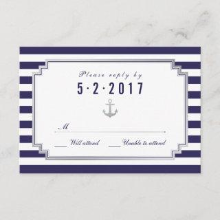 Stylish Nautical Custom Navy White RSVP Card