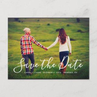 Stylish Script Photo Overlay Save the Date Announcement Postcard
