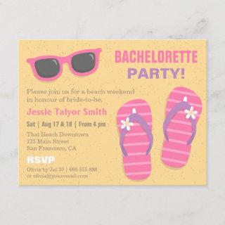 Stylish Trendy Beach Weekend Bachelorette Party Invitations