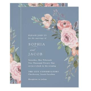 Subtle Watercolor Roses | Dusty Blue Wedding Invitation