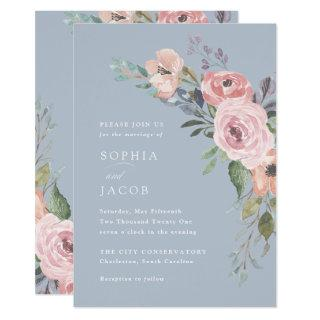Subtle Watercolor Roses | Light Blue Wedding Invitations