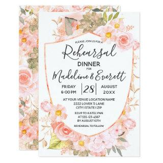 Succulent Crest Floral Wedding Rehearsal Dinner Invitation