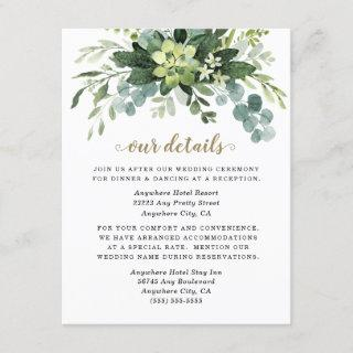 Succulent Eucalyptus Elegant Boho Greenery Wedding Enclosure Card