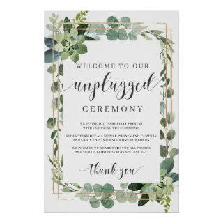 Succulent Greenery folaige gold unplugged sign