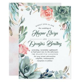 Succulent Greenery Pink Floral Modern Wedding Invitations