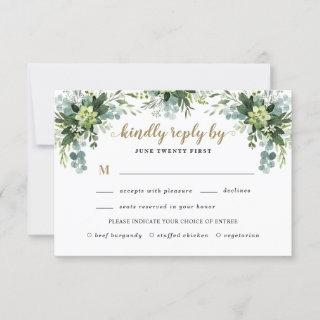 Succulent Meal Choice Eucalyptus Greenery Wedding RSVP Card