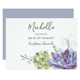 Succulent plants Will You Be My Maid Of Honor Invitations