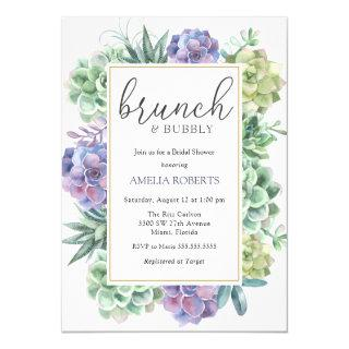 Succulents Brunch and Bubbly Bridal Shower Invitation