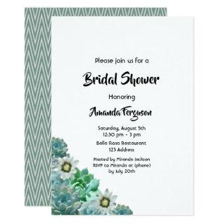 Succulents cati flowers on white Bridal Shower Invitations