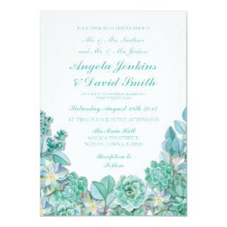 Succulents Floral Wedding Rustic White Teal Invite