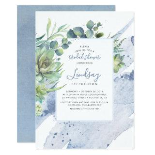 Succulents Greenery Dusty Blue Bridal Shower Invitations