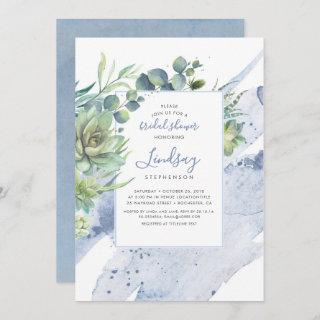 Succulents Greenery Dusty Blue Bridal Shower Invitation