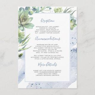 Succulents Greenery Dusty Blue Wedding Information Enclosure Card