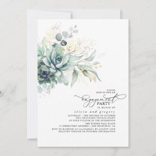 Succulents Greenery Gold Leaves Engagement Party Invitations