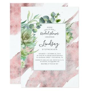 Succulents Greenery Rose Gold Foil Bridal Shower Invitations