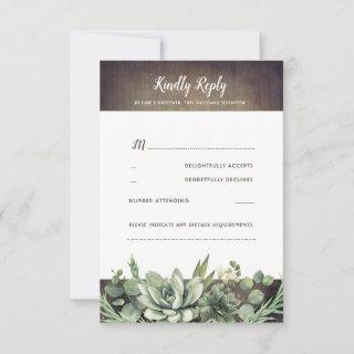 Succulents Greenery Rustic Country Wedding RSVP
