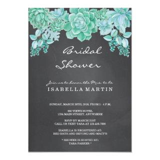 Succulents on Chalkboard Bridal Shower Invitations