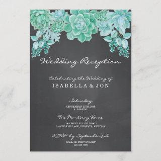 Succulents on Chalkboard Wedding Reception Only Invitations