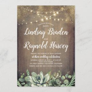 Succulents | Rustic Greenery Country Barn Wedding Invitation