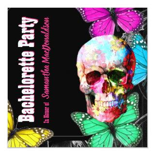 Sugar skull and butterflies bachelorette party invitation