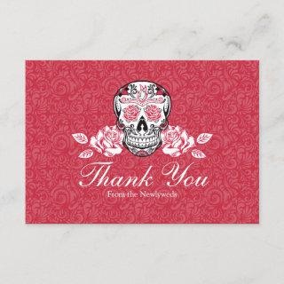 Sugar Skull + Roses Flat Thank You card Blank Back