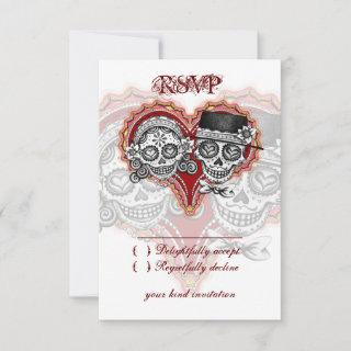 Sugar Skull Wedding Day of the Dead RSVP Cards